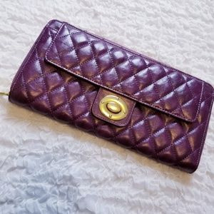 Shiraleah Quilted Purple & Gold Wallet Vegan